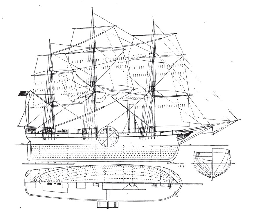 Diagram of SS Savannah according to G. B. Douglas (1919), showing lines and sail plan. From The Rudder, May 1919, page 267, The Rudder Publishing Company, New York.