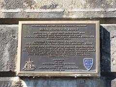Photo of Thomas Telford and Menai Suspension Bridge bronze plaque