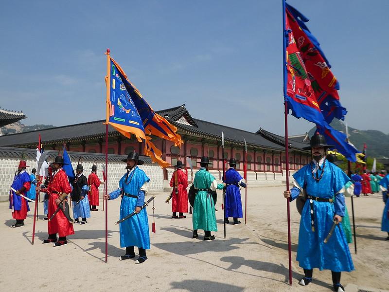 The Royal Changing of the Guard Practice atGyeongbokgung Palace