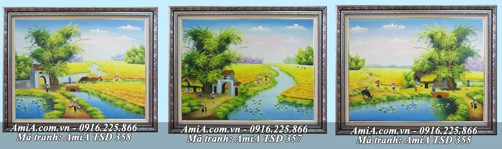 Tranh vẽ phong cảnh làng quê em bằng sơn dầu