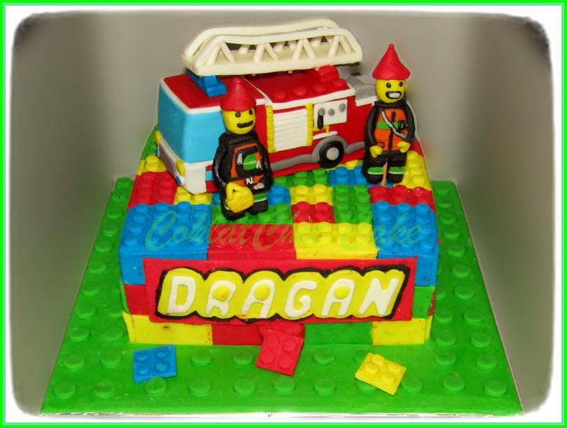 Cake Lego Firetruck DRAGAN 18 cm 15 cm