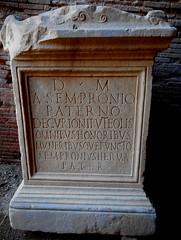 Cippus (1st-2nd century AD) with inscription: PUTEOLIS=at Pozzuoli - Amphitheater of Pozzuoli / Naples
