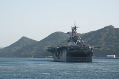 SASEBO, Japan (April 18, 2018) The amphibious assault ship USS Bonhomme Richard (LHD 6) departs Sasebo, capping six years of forward deployed service in the Indo-Pacific region. Bonhomme Richard will now transit to its new homeport in San Diego for follow-on operations and eventual upgrades to become F-35B Lightning II capable. (U.S. Navy Photo by Mass Communication Specialist 2nd Class Jordan Crouch/Released)
