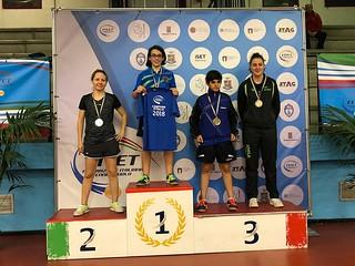 Celeste Leogrande sul gradino pió alto del podio