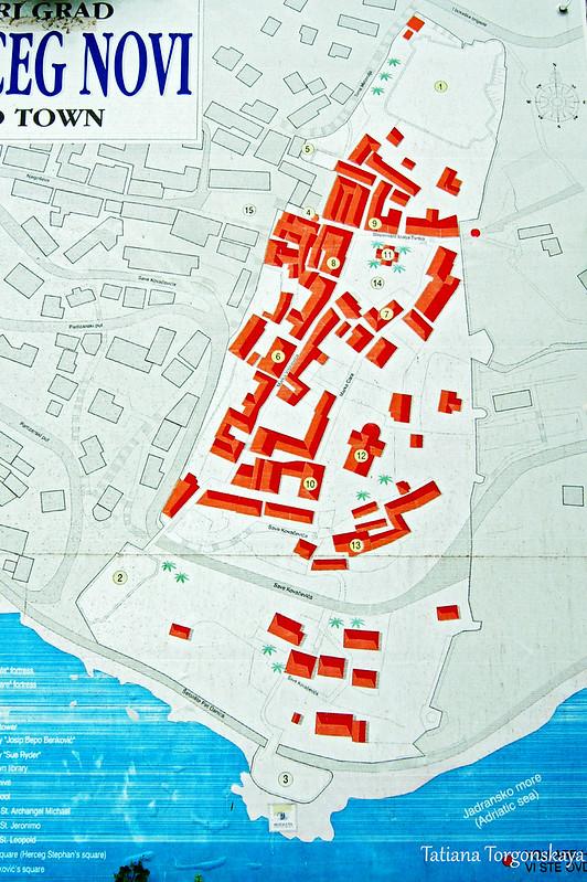 Старый город Херцег Нови - карта для туристов