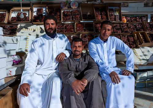 Dates sellers in a market, Al-Jawf Province, Sakaka, Saudi Arabia