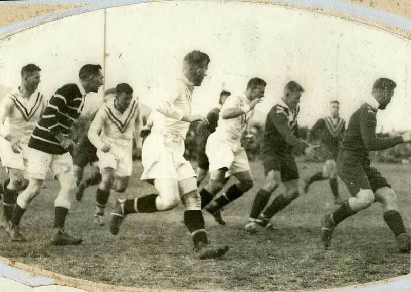1d258d01ede7 ... ball during an International Rugby League match between Ipswich and  England in Ipswich 1932. Taken 2 Jul 1932. State Library of Queensland