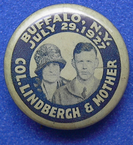 Souvenir button commemorating Lindbergh's visit to Buffalo, New York, on July 29, 1927.