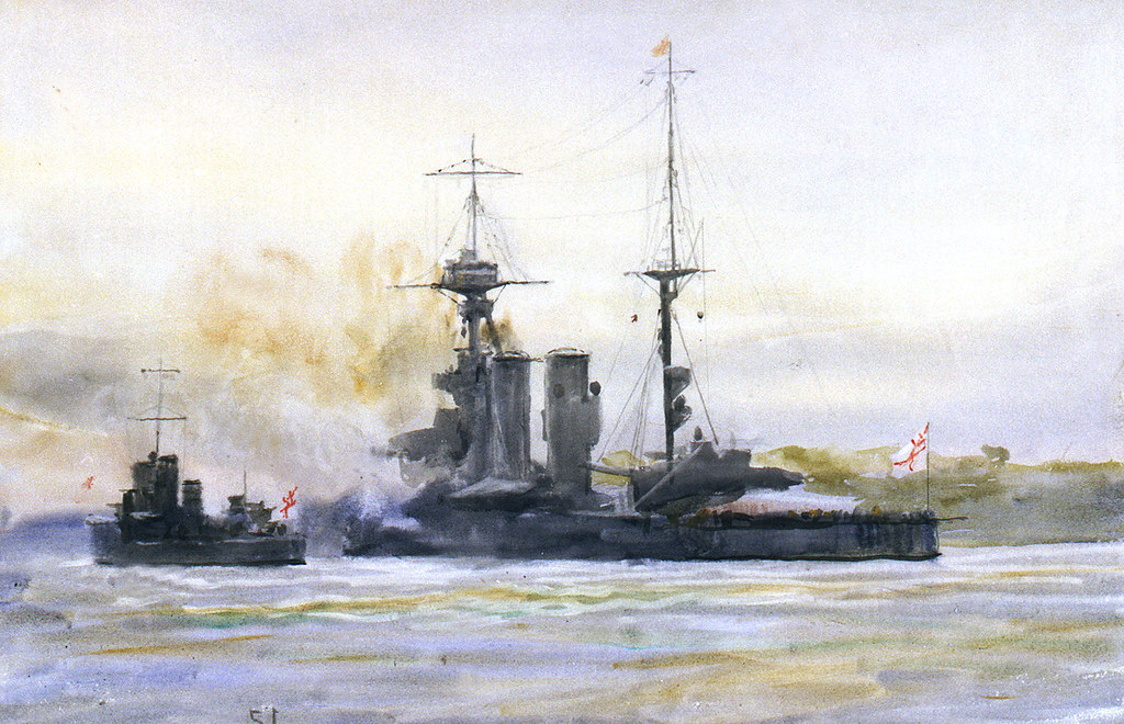 "HMS ""Queen Elizabeth"", battleship, and a Modified W-class destroyer (1919-26)"