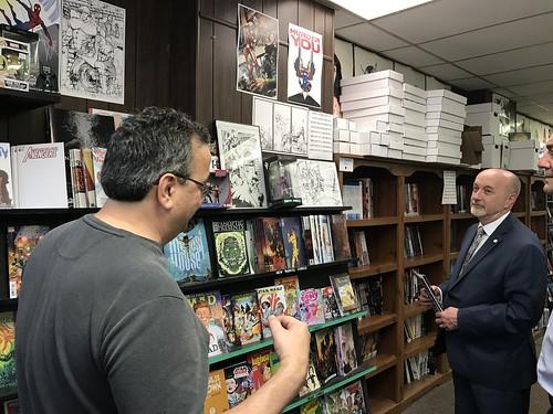 Mayor Madden visits Aquilonia Comics 05-04-2018