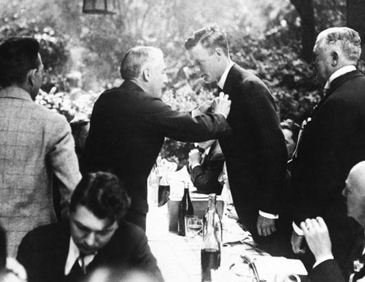 Charles Lindbergh is honored at the banquet of the Fédération aéronautique internationale in Paris, France, on May 25, 1927.