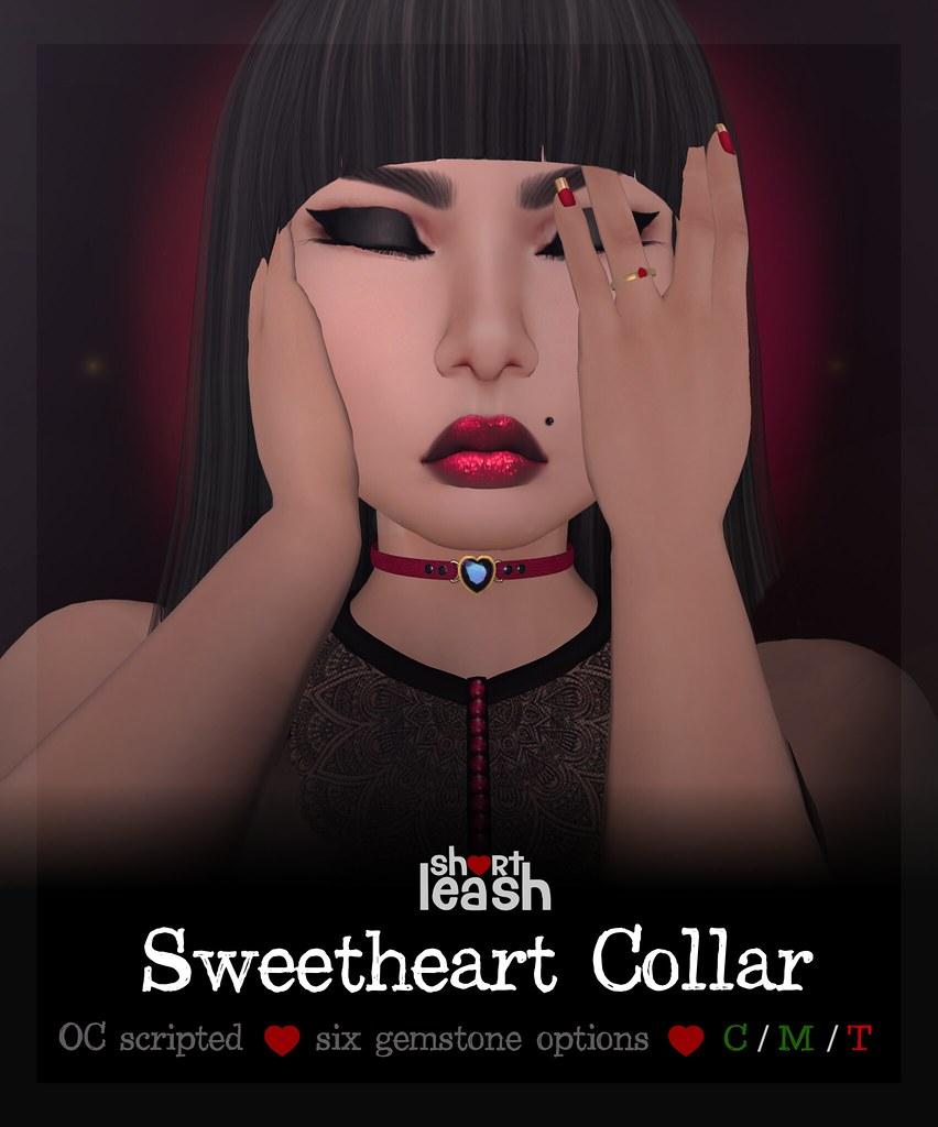.:Short Leash:. Sweetheart Collar & Leash Holder Ring