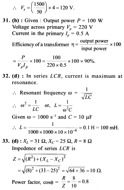 NEET AIPMT Physics Chapter Wise Solutions - Electromagnetic Induction and Alternating Current explanation 30.1,31,32,33