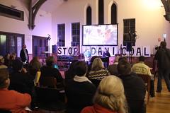 Sally Newell and Tony Gleeson launching the #StopAdani night of action in Brunswick - IMG_3093