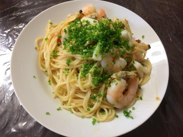 Pasta with Seafood and ASATSUKI