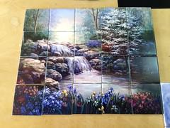 Hidden waterfall 1 tile mural on 10.8cm tiles at £220  www.tilemuralstore.co.uk  #tilemurals #kitchentiles #waterfall #landscape