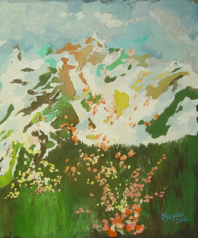 Spring Himalayas - 30x24 cm Oil on paper 2012