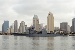 SAN DIEGO (April 16, 2017) The guided-missile cruiser USS Mobile Bay (CG 53) gets underway to complete the USS John C. Stennis (CVN 74) Carrier Strike Group Cruiser-Destroyer (CRUDES) Surface Warfare Advanced Tactical Training (SWATT) exercise. SWATTs are led by SMWDC and supported by a host of other organizations, and are designed to increase warfighting proficiency, lethality, and interoperability of participating units. (U.S. Navy photo by Clinton C. Beaird/Released)