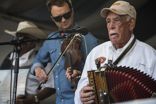 Louis Michot onstage with Goldman Thibodeaux & the Lawtell Playboys perform during Jazz Fest day 4 on May 3, 2018. Photo by Ryan Hodgson-Rigsbee RHRphoto.com