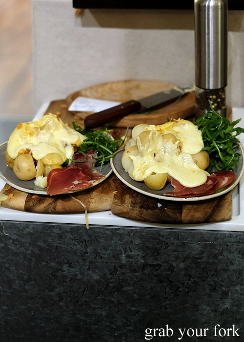 Melted raclette on potatoes at Handpicked Cellar Door in Sydney