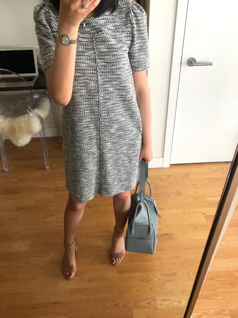 LOFT Fringe Tweed Pocket Dress, size XXSP