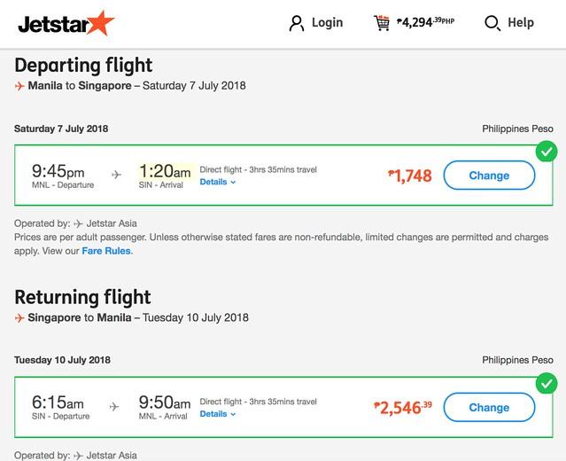 Manila to Singapore Jetstar July 7-10, 2018