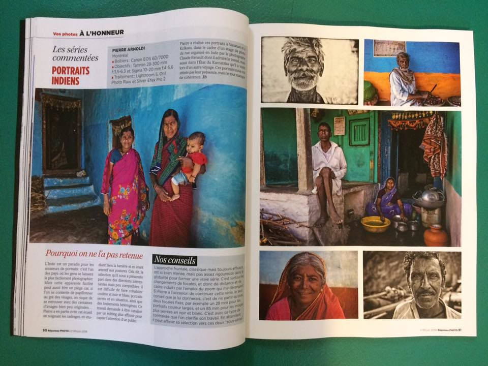 Parution dun article sur mes photos indiennes dans le numéro de juin de RÉPONSES PHOTO