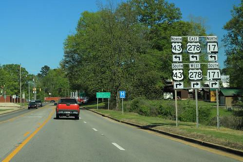 AL17 North - US43 US278 AL171 South Signs - Hamilton