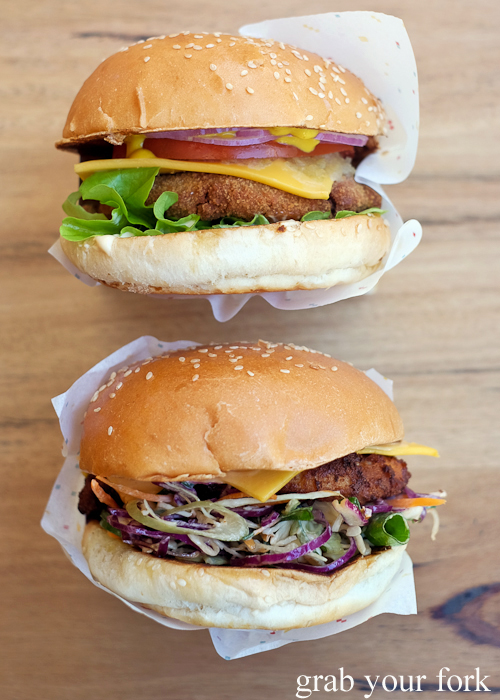 1 Up mushroom burger and Golden Axe chicken burger from 8bit at Steam Mill Lane Sydney
