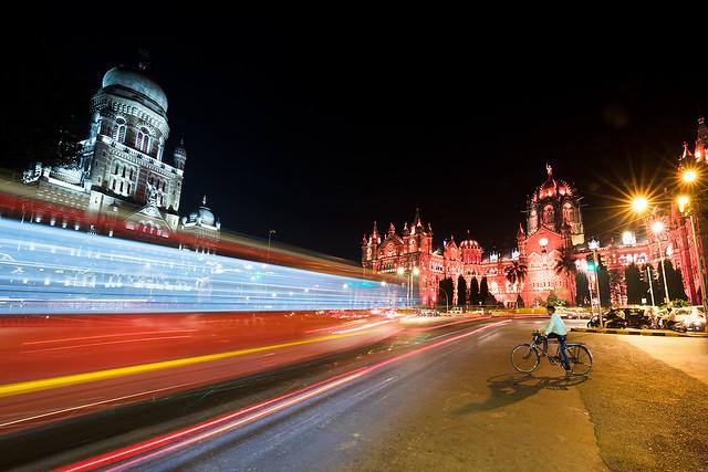 Night photography at Victoria Station in Mumbai, India.