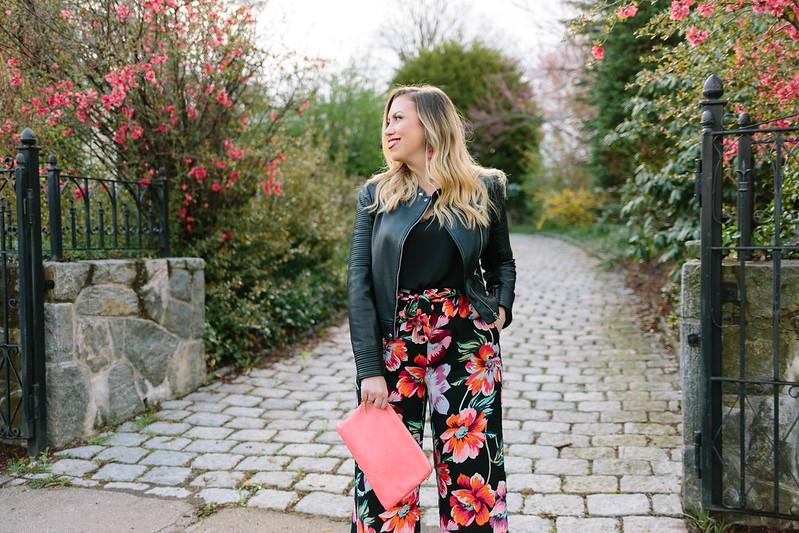 Zara Biker Jacket Pink Black Floral Pants Spring Outfit Inspiration