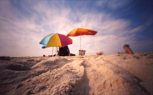 sun 120 beach umbrella mediumformat sand longisland pinhole 6x9 kodakportra160vc zeroimage robertmoses zero69 explored