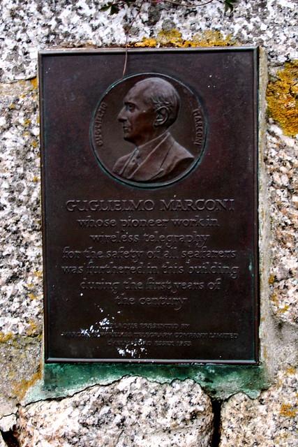 Photo of Guglielmo Marconi brass plaque