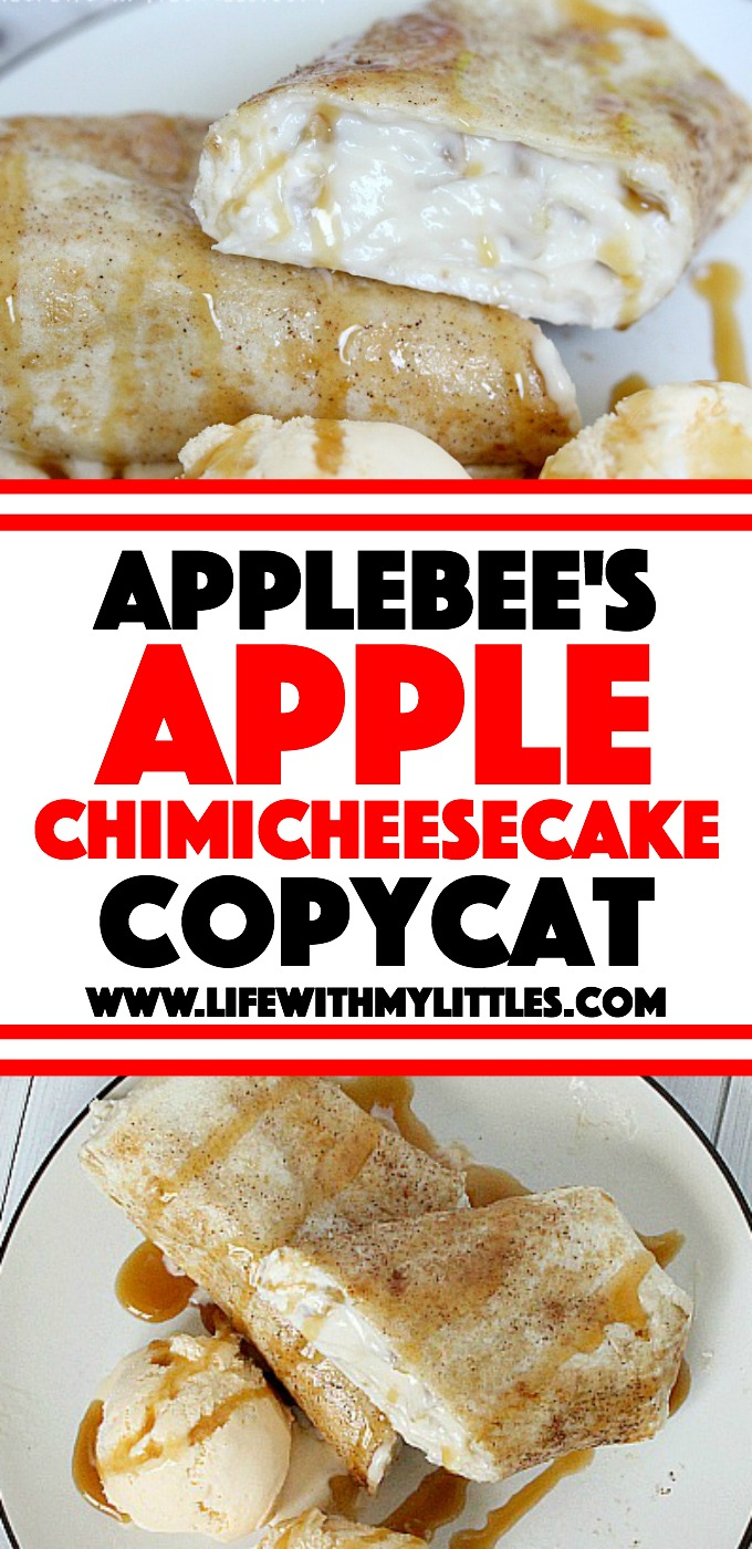 This Applebee's Apple Chimicheesecake copycat recipe tastes just like the original dessert from the restaurant! Warm, gooey apple cheesecake tucked inside a cinnamon sugar tortilla and fried until golden, served with creamy vanilla ice cream and drizzled in caramel! Yum!