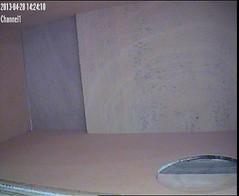 Testbeeld JVC camera in de observatiekast bij zeer weinig licht.