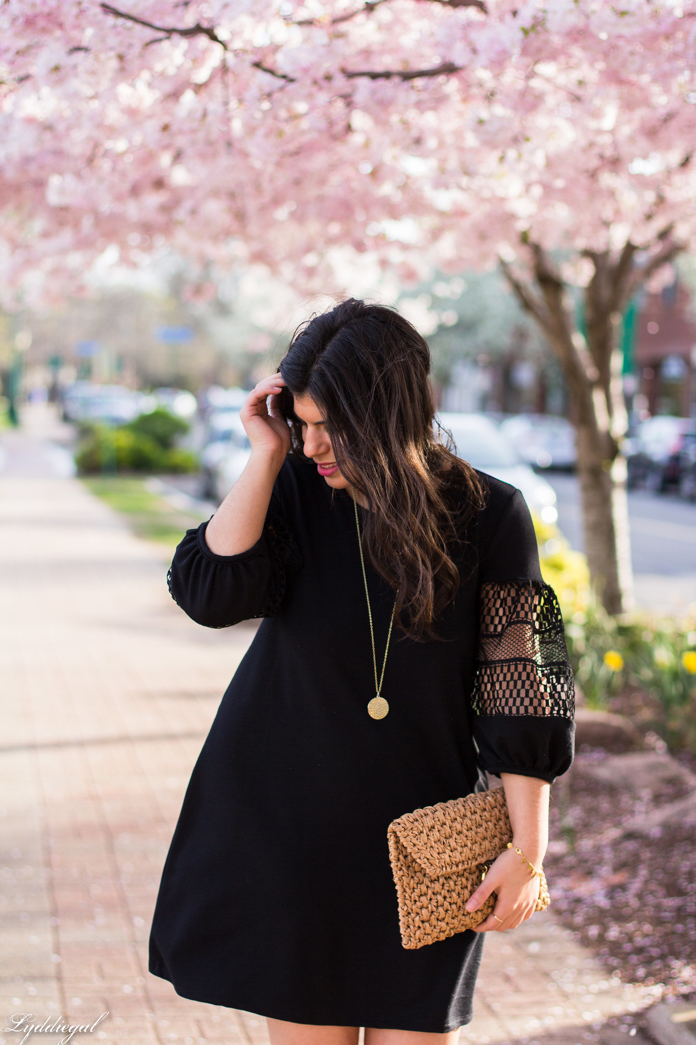 black dress, straw clutch, nude pumps-5.jpg