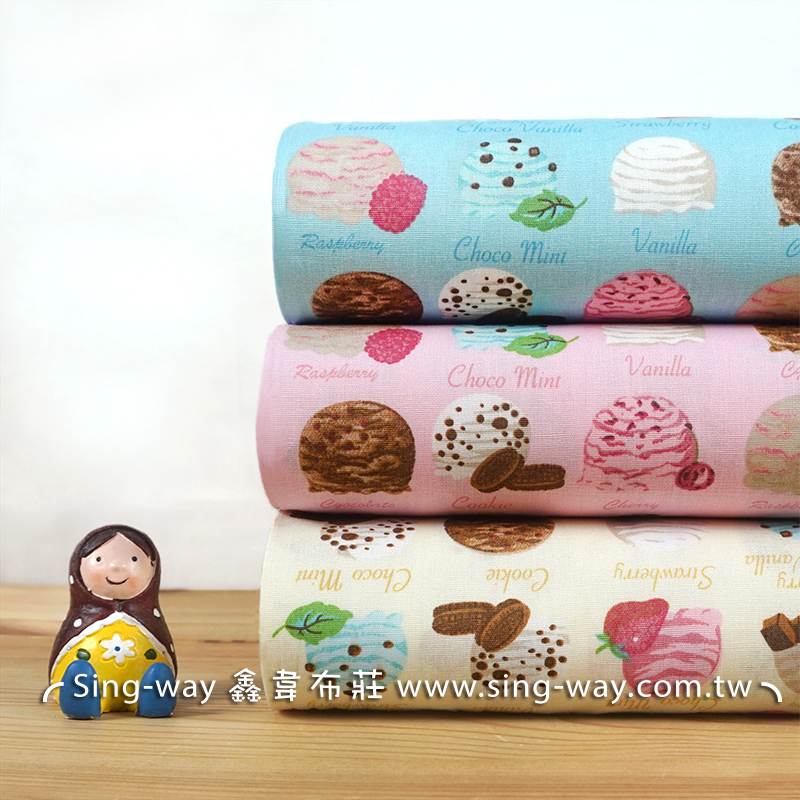 冰淇淋 (大特價) 食物 甜食 童趣 甜美風格 少女風格 手工藝DIy拼布布料 CA450733