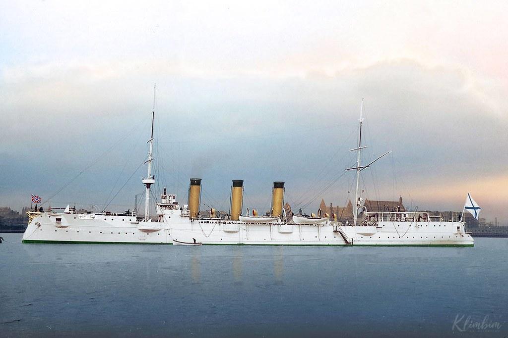 """Бронепалубный крейсер II-го ранга """"Боярин"""" в Дании, 1903 год (colorize Klimbim)"""