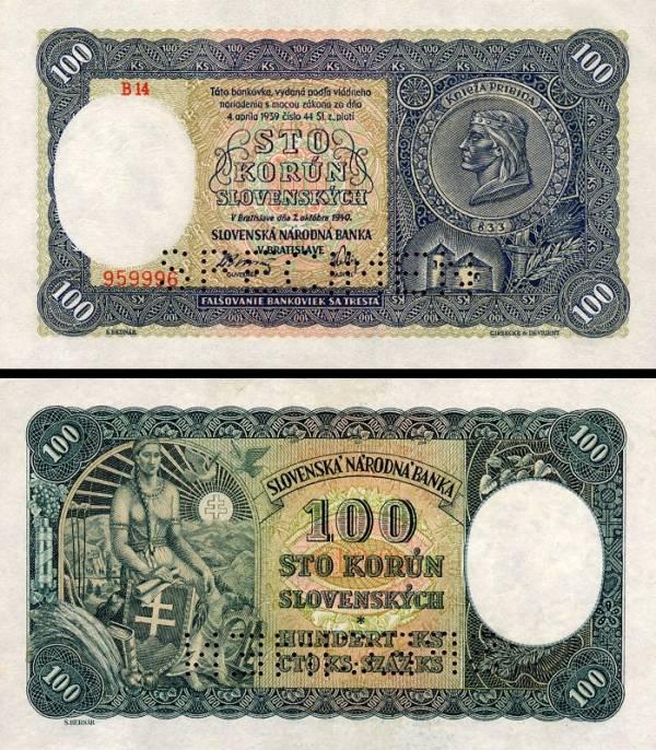 100 Ks II/1 Sto korún Slovensko 1940, P10s specimen