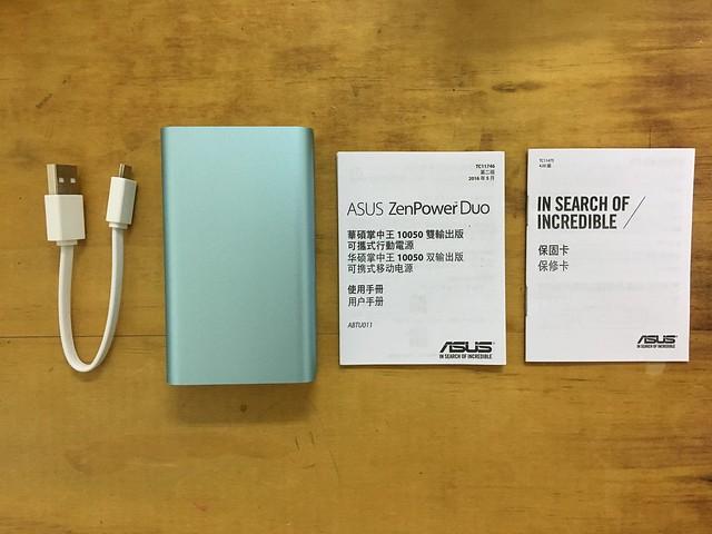 內附一條 USB 線與行動電源本體、保證卡與說明書@ASUS ZenPower Duo 10050行動電源