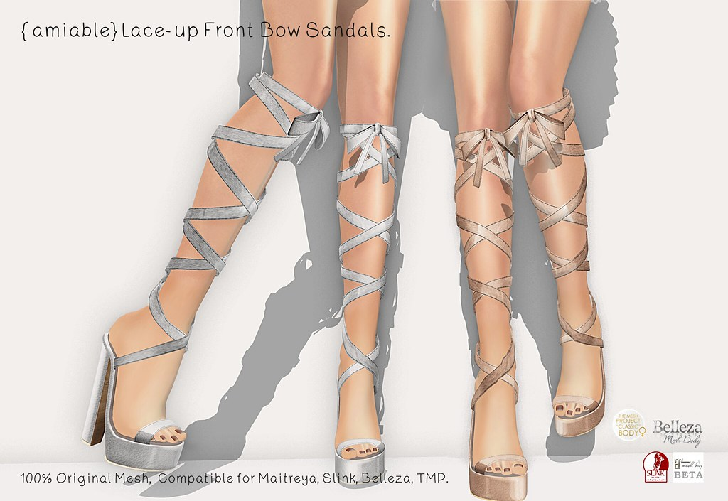 {amiable}Lace-up Front Bow Sandals@main store(50%OFF SALE). - TeleportHub.com Live!