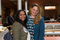 State Rep. Stephanie Cummings met with Charter Schools' advocate Diane Khan, of Waterbury, at the Capitol on April 26.