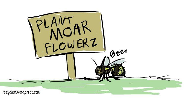honeybee with sign