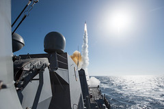 USS Stockdale (DDG 106) launches a Standard Missile (SM) 2 during training in the Pacific, April 27. (U.S. Navy/MC2 Amanda A. Hayes)