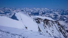 Wspinacze na grani szczytowej Piz Palu 3900m. W oodali grupa Ortlera.