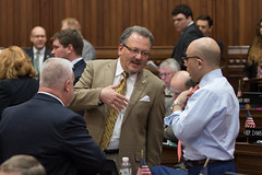 State Rep. Tony D'Amelio speaks with Rep. Jason Perillo and Ben McGorty during a session day.