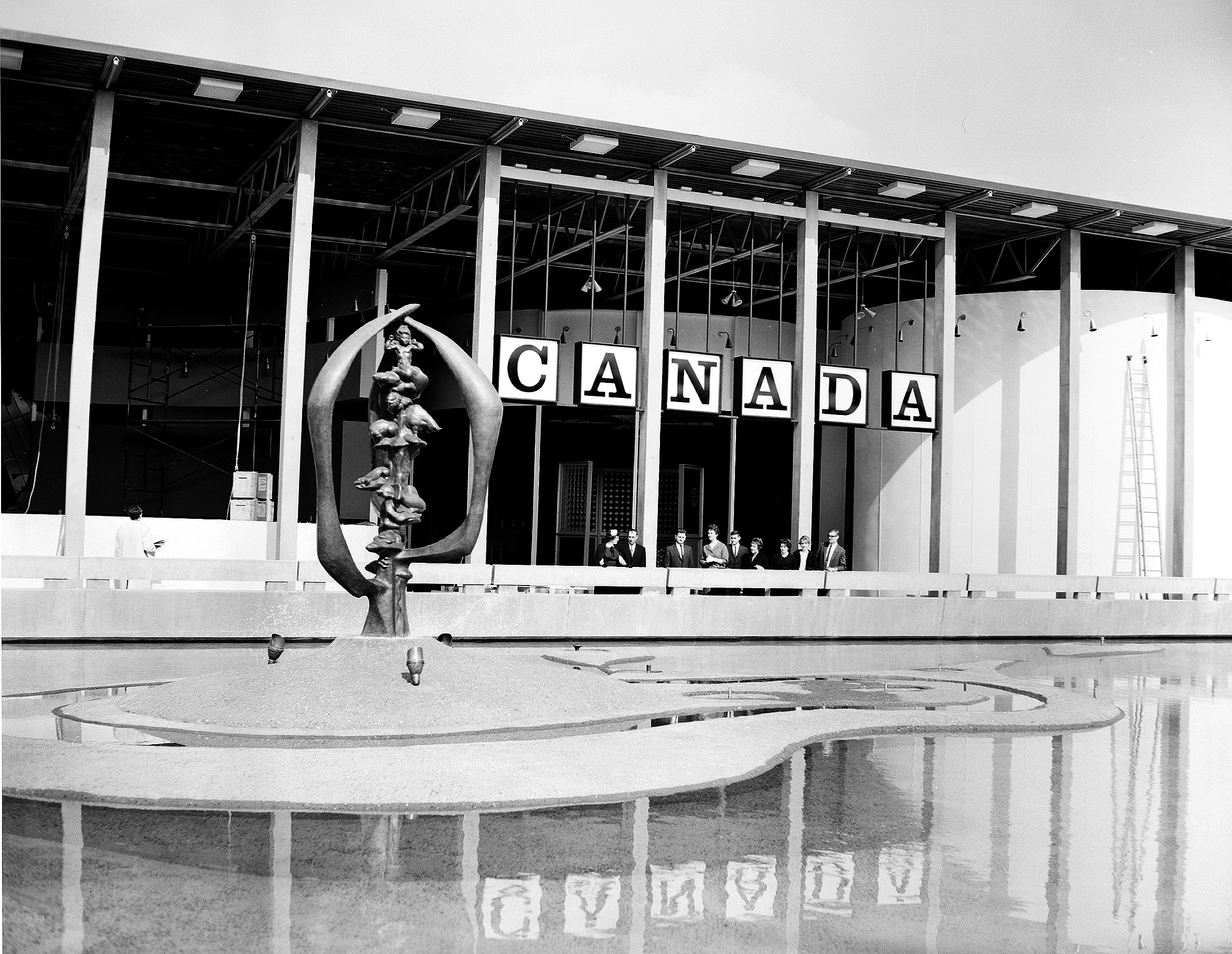 Canada Building at Century 21 Exposition, Seattle, Washington, 1962. This is now part of the Northwest Court of Seattle Center. The DuPen Fountain in the foreground is still there, although it has been somewhat reconfigured.