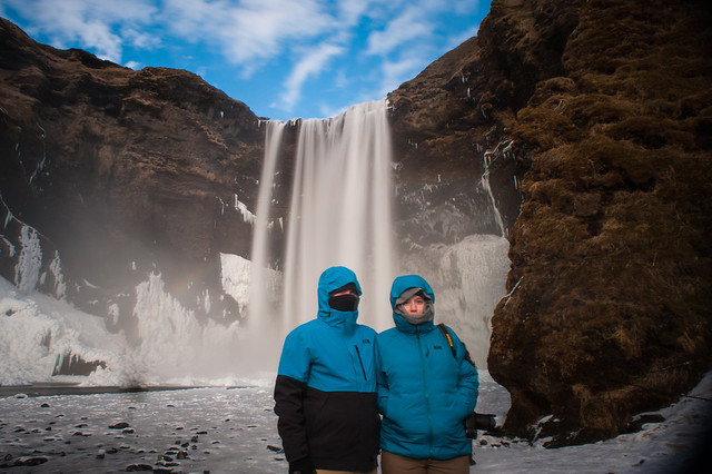 Kids at Skogafoss