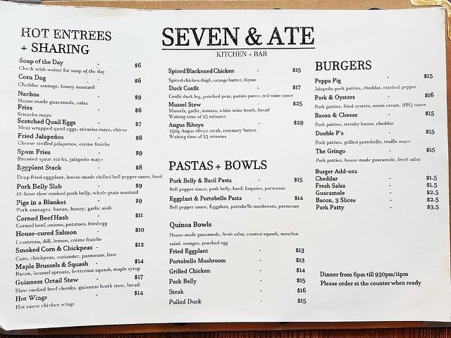 Seven & Ate Menu - Dinner