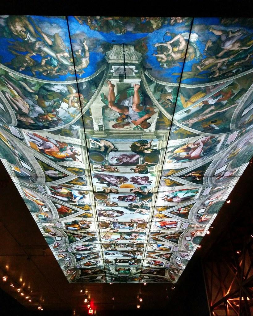 Sistine Chapel ceiling recreation #newyorkcity #newyork #metmuseum #metmichaelangelo #michaelangelo #sistinechapel #painting #latergram